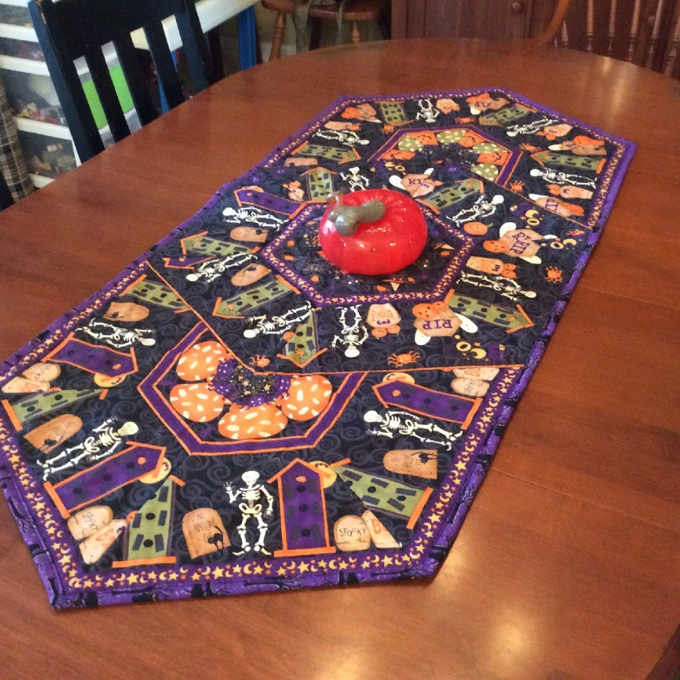 Halloween Table Runner using 60 degree ruler