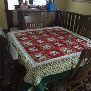 Christmas scraps table quilt