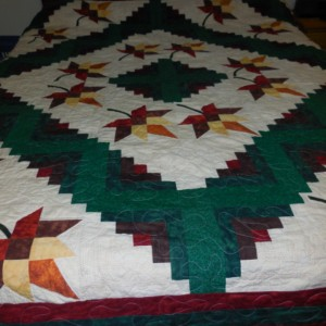 Maple Leaf Log Cabin Quilt