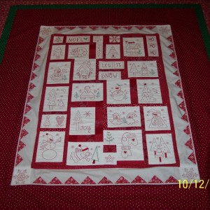 Holiday Redwork Quilt