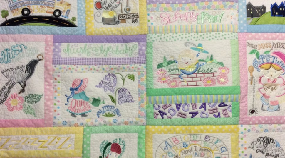 Baby embroidered quilt
