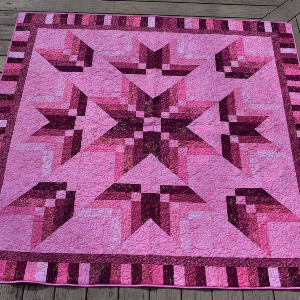 Binding Star Quilt In Pink Quiltsby Me