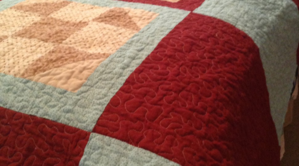 Burgandy and turquose wedding quilt