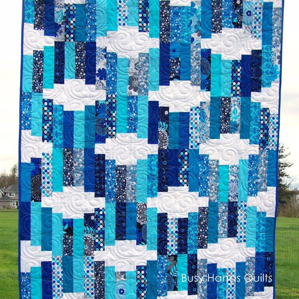 Jelly Roll Waves Lap Quilt in Aquas and Blues