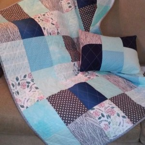 Baby Quilt Blues and Greys