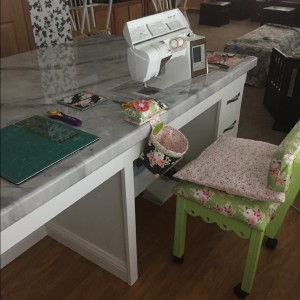 HST quilt and new sewing table