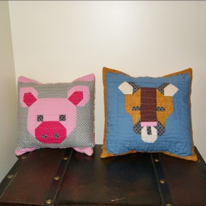 Pig and Cougar pillows