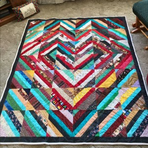 finished heart string quilt