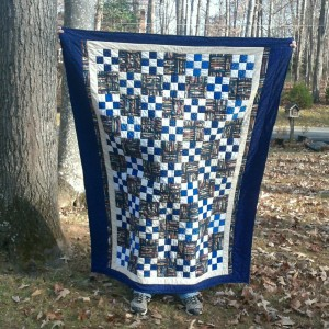 blue Irish chain quilt