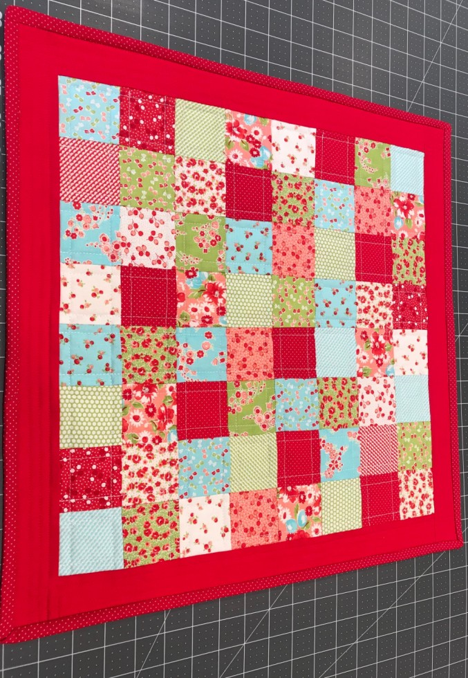 Doll quilt from leftover fabric