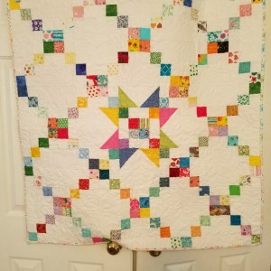 Sawtooth Star and Irish Chain Scrappy Baby Quilt