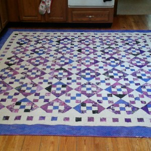Purple 9 Patch and Hourglass quilt