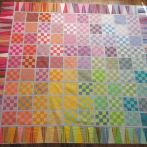 16 patch shot cotton spectrum quilt