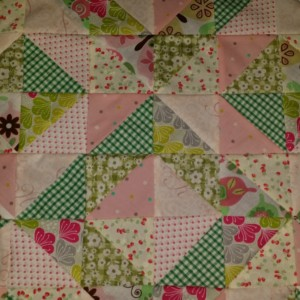 green and pink half square triangle