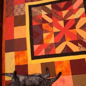 Orange and Brown fan blades quilt