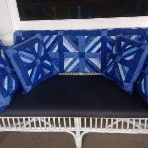Blue Fires Quilt for my front porch