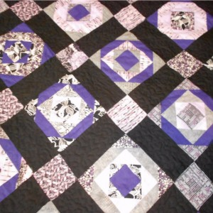 Purple Paper Pieced Quilt King Sized