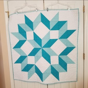 Aqua Carpenter Star Baby Quilt