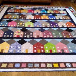 Scrappy Row House quilt