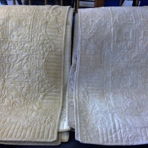 Hand binding these lovely custom quilted