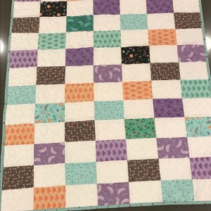 Baby Quilt in Purple, Blue & Orange