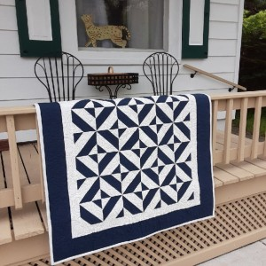 Blue and white baby quilt. SOLD