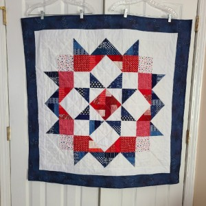 Red, White, and Blue Moda Love Star baby quilt