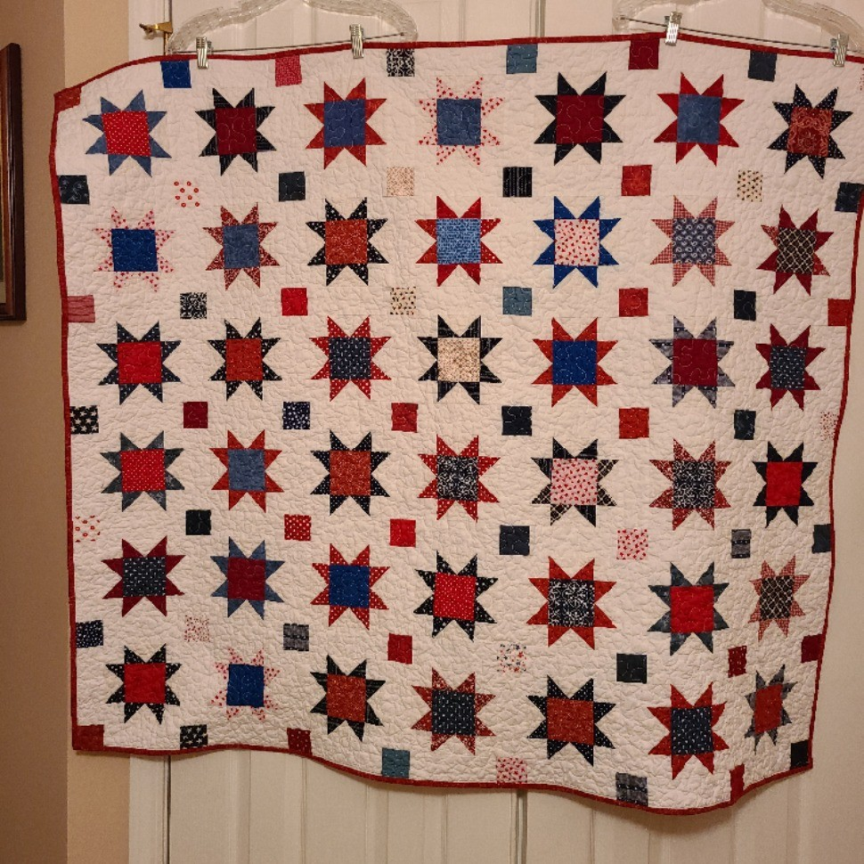 Red, White, and Blue Sawtooth Star Quilt