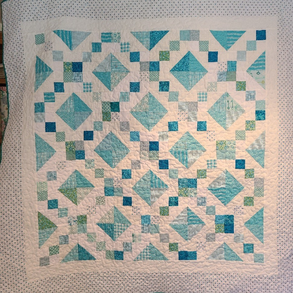Aqua Jewel Box Baby Quilt