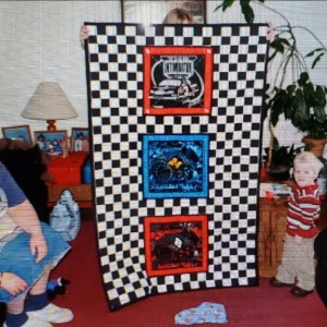 Grandsons Baby Quilt, Race Car Themed Room