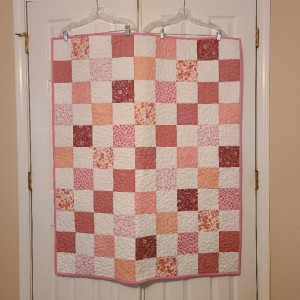 Simple Checkerboard Pink Patchwork Quilt
