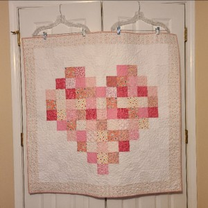 Pixelated Heart Baby Quilt