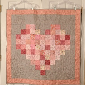 Pink and Grey Pixelated Heart
