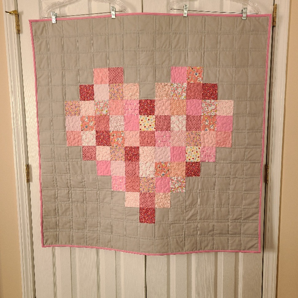 Pink & Grey Pixelated Heart II