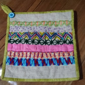 Wool Embroidery Pot Holder