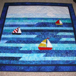 Sailboat Jellyroll Baby Quilt
