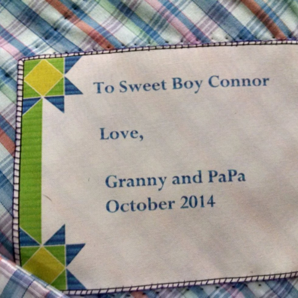 Grandson Connor's quilt