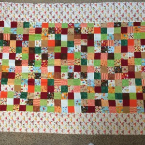 Scrappy 4-Patch Autumn Quilt