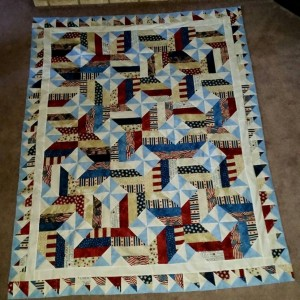 Pinwheel on Point with Fence Rail Quilt top