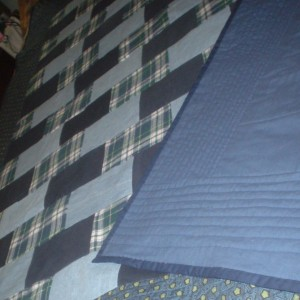 Blue Denim and Flannel Quilt