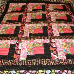 peace and love log cabin quilt