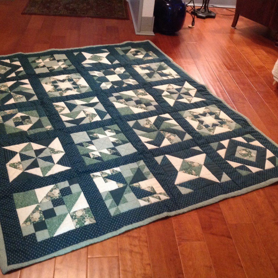 Green and white sampler quilt
