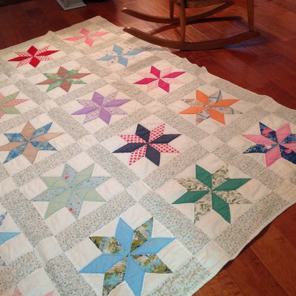 Quilt made from recycled fabric.