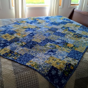 Blue and Yellow Layer Cake Quilt