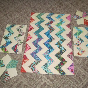 chevron table runner, placemats and mug rug