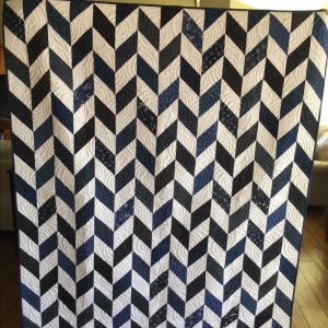 Navy Blue and White Herringbone Quilt